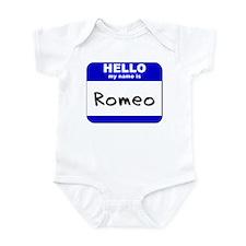 hello my name is romeo  Infant Bodysuit