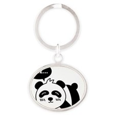 Cartoon of Cute Sleeping Panda Oval Keychain