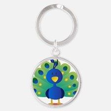 Cute peacock with bright feathers Round Keychain