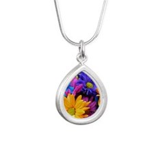 Neon Bright Gerbera Flow Silver Teardrop Necklace