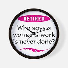 Woman Retirement Wall Clock