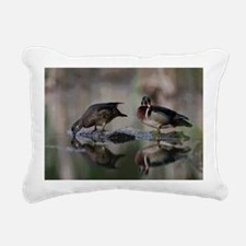 Wood Ducks on Log Rectangular Canvas Pillow