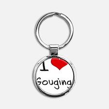 I Love Gouging Round Keychain