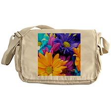 Colorful Neon Flowers Messenger Bag
