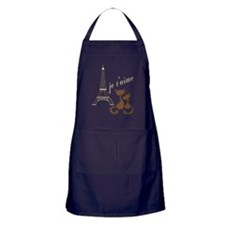 Chocolate Brown I Love Paris Eiffel T Apron (dark)