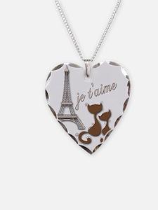 Chocolate Brown I Love Paris  Necklace