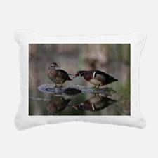 Wood Duck Pair on Log Rectangular Canvas Pillow