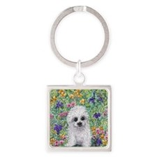 Maltese pup in the garden Square Keychain