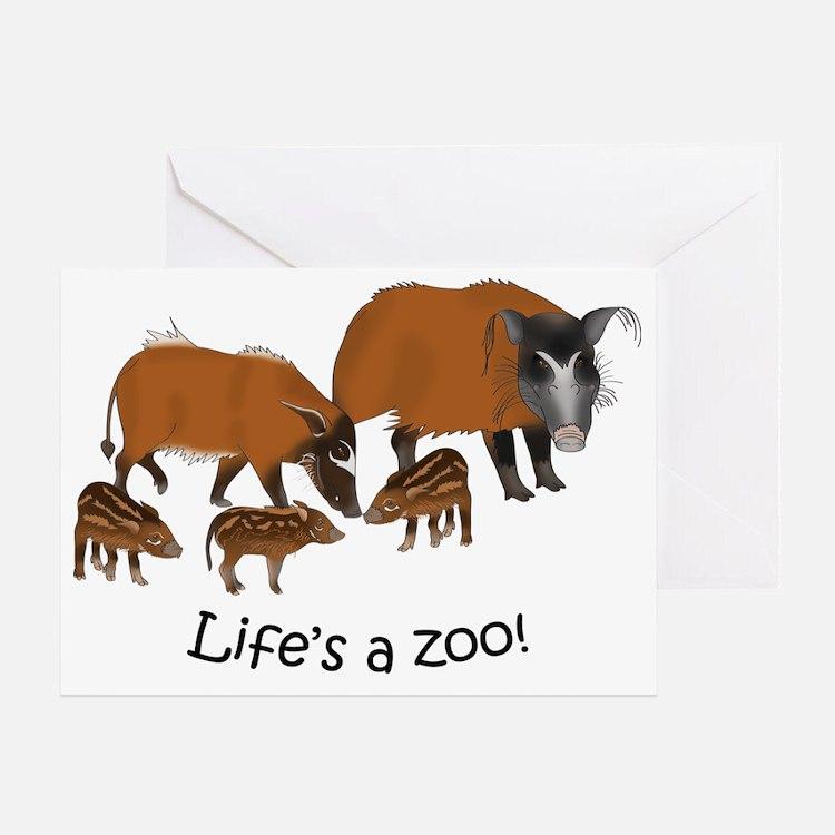 Red river hog family - light Greeting Card