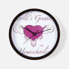 Worlds Greatest Homeschooler (Heart) Wall Clock