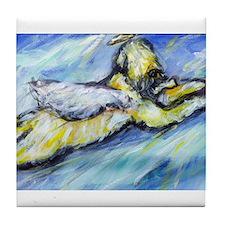 Wheaten Terrier Angel Flys free Tile Coaster