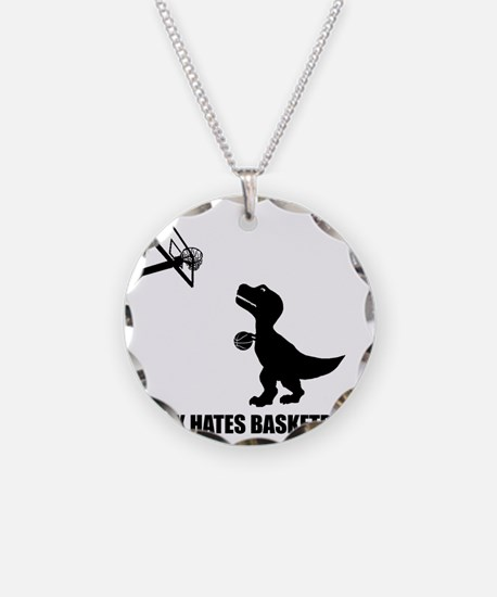 T-Rex Hates Basketball-1 Necklace Circle Charm