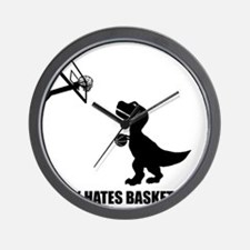 T-Rex Hates Basketball-1 Wall Clock