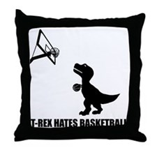 T-Rex Hates Basketball-1 Throw Pillow