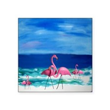 "Plastic Pink Flamingos on t Square Sticker 3"" x 3"""
