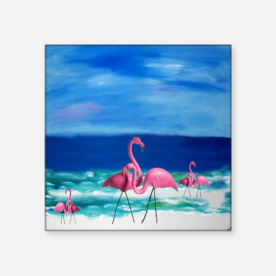 "Plastic Pink Flamingos on t Square Sticker 3"" x 3"""