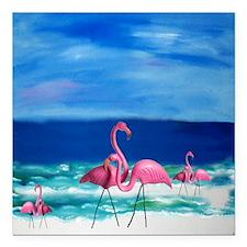 "Plastic Pink Flamingos o Square Car Magnet 3"" x 3"""
