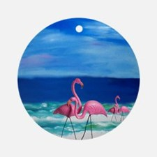 Plastic Pink Flamingos on the Beach Round Ornament
