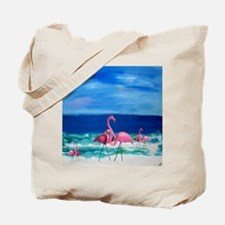 Plastic Pink Flamingos on the Beach Tote Bag