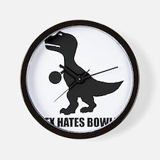 T-Rex Hates Bowling-1 Wall Clock