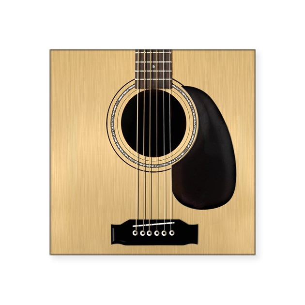 acoustic guitar square square sticker 3 x 3 by admin cp4521271. Black Bedroom Furniture Sets. Home Design Ideas
