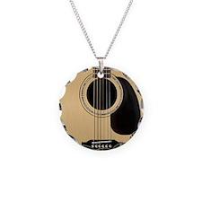 Acoustic Guitar Square Necklace Circle Charm