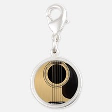 Acoustic Guitar Square Silver Round Charm