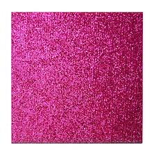 Hot pink faux glitter Tile Coaster