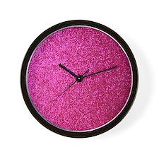 Hot pink faux glitter Wall Clock