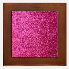 Hot pink faux glitter Framed Tile