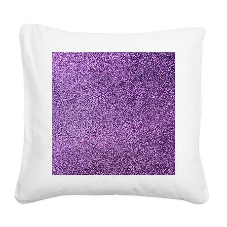 Purple faux glitter Square Canvas Pillow