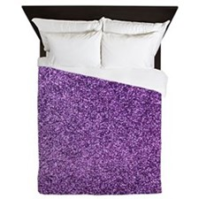 Purple faux glitter Queen Duvet