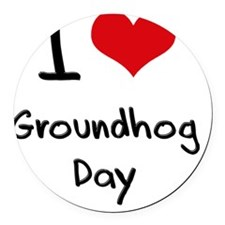 I Love Groundhog Day Round Car Magnet