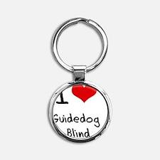 I Love Guidedog   Blind Round Keychain