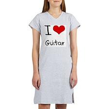 I Love Guitar Women's Nightshirt