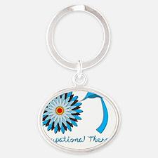 Flower Power OT Blue sticky Oval Keychain