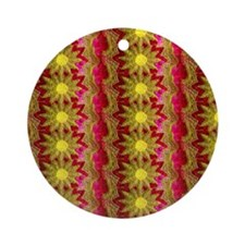 Pink and Yellow Daisies Round Ornament