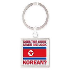 North Korean Designs Square Keychain