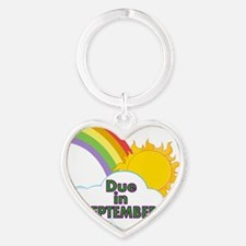Rainbow with Due in September Heart Keychain