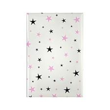 Pink Black White Modern Stars Rectangle Magnet