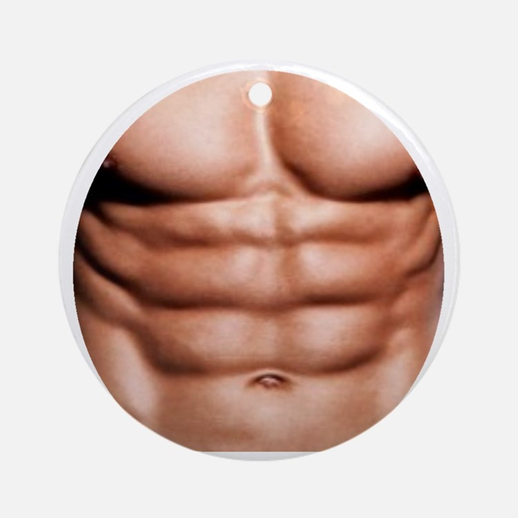 Show My Abs Round Ornament
