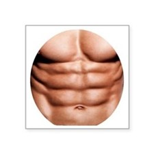 """Show My Abs Square Sticker 3"""" x 3"""""""
