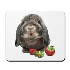 Bunny and strawberries Mousepad