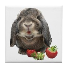 Bunny and strawberries Tile Coaster