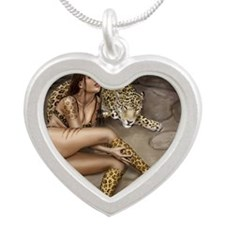 pet leopard mouse mat Silver Heart Necklace