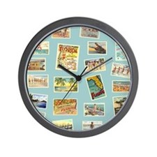 Vintage Florida Postcards Wall Clock
