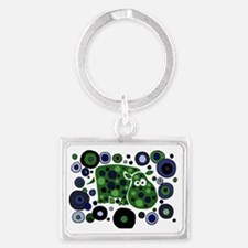 Funky Hippo Art and Circles Landscape Keychain