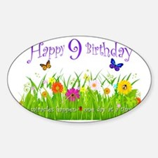 butterfly_birthday_card_9_years Sticker (Oval)