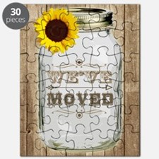 Rustic Change Of Address Mason Jar Sunflowe Puzzle