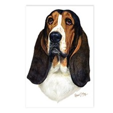 Basset Hound Head a Postcards (Package of 8)